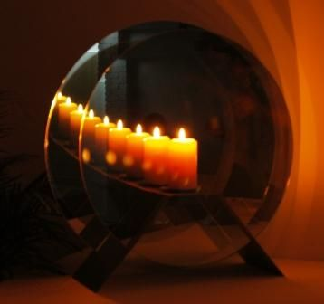 Size 3: Infinity Candle/Brushed stainless steel stand