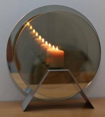 Size 2  Infinity Candle/Brushed stainless steel stand